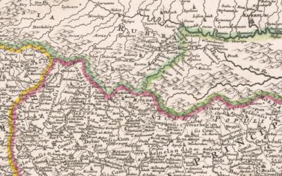 Фрагмент карты Ж.-Б.Гоманна, 1700 г. Срдеи народов Трансильвании отмечены, в т.ч. молдаване